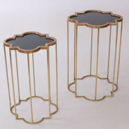 Quarter Foil Mirrored Set Of Two Side Tables